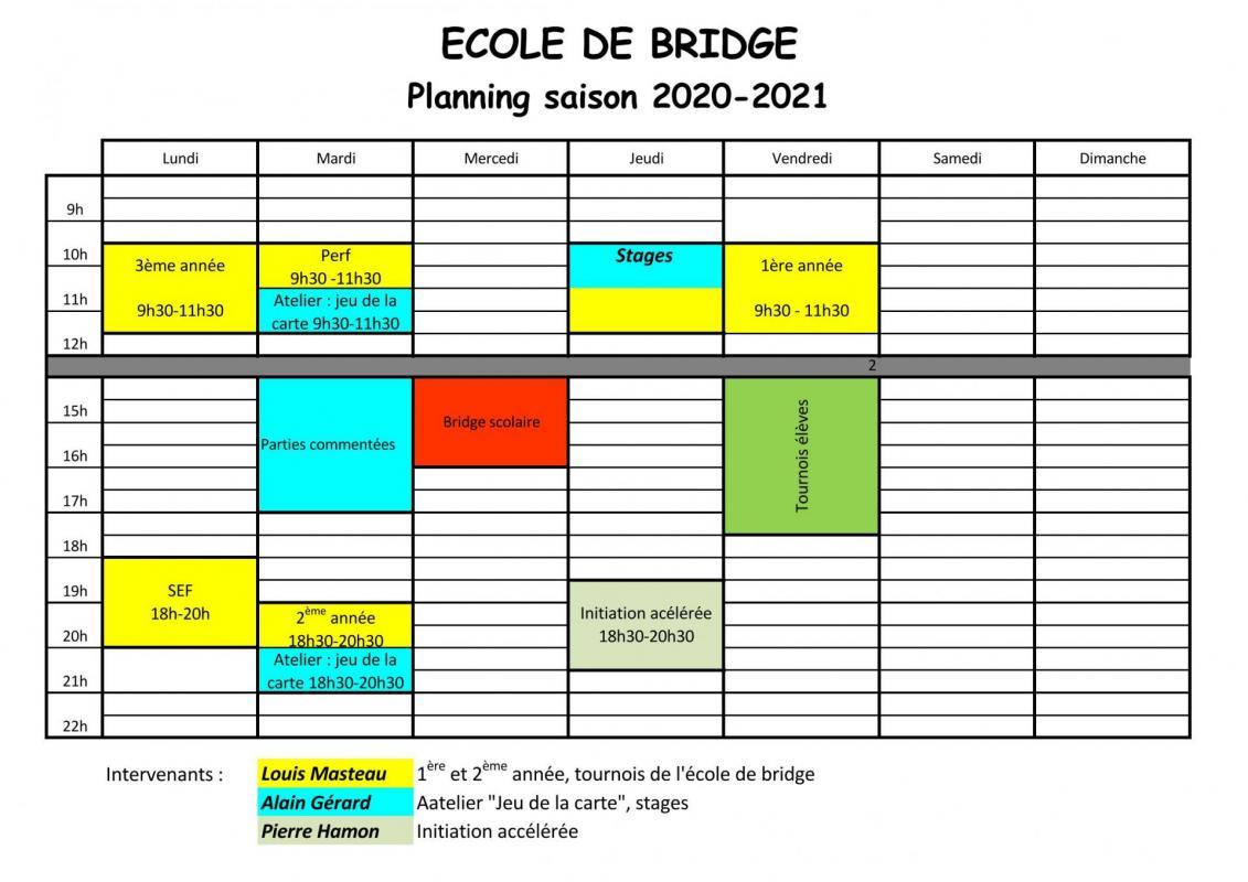 planning ecole de bridge