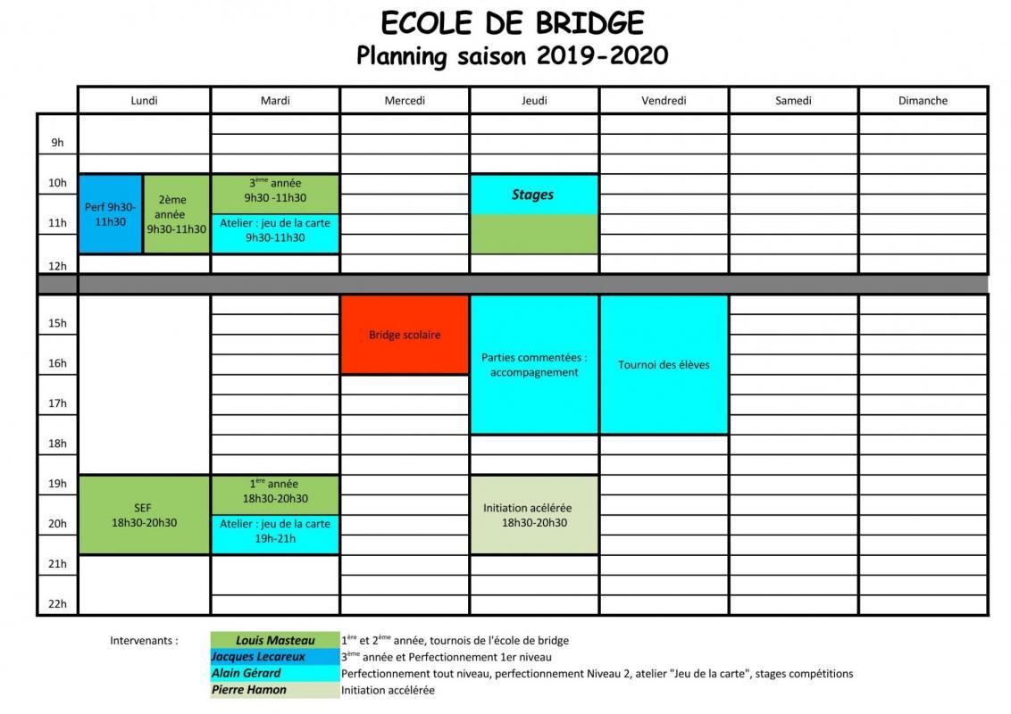 École de bridge 2019-2020 horaires et intervenants