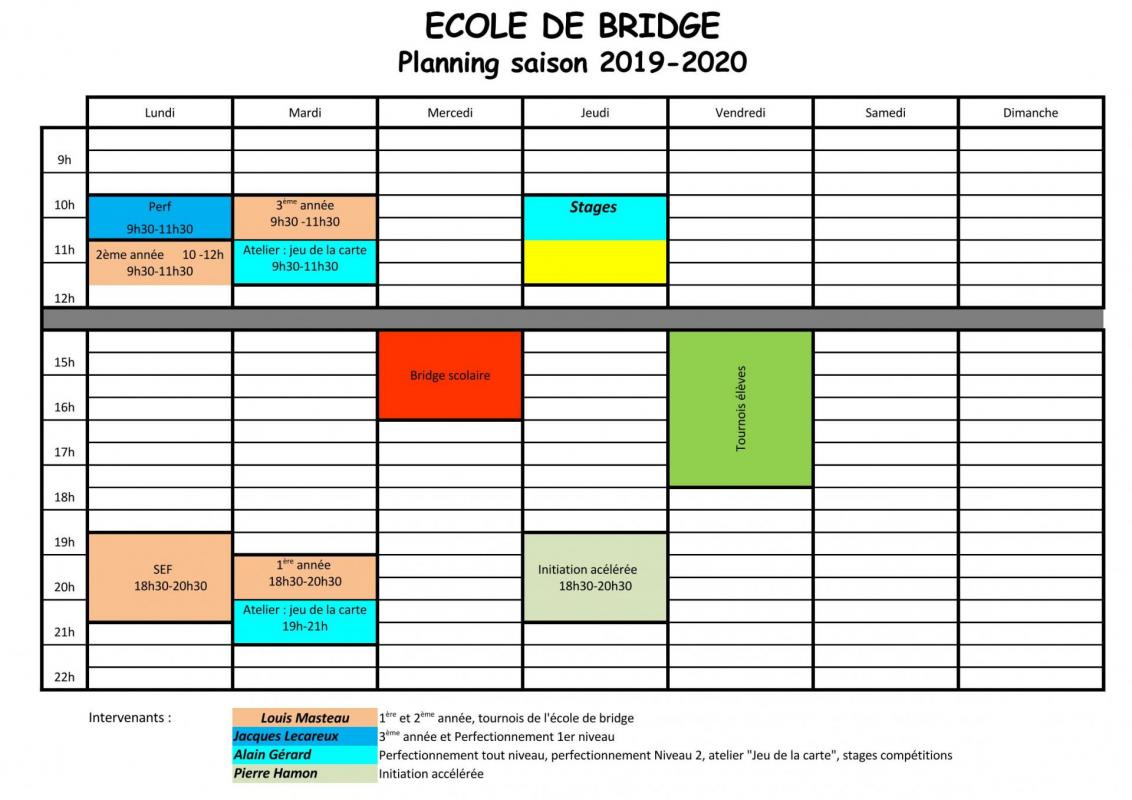 École de bridge 2019-2020 - horaires intervenants