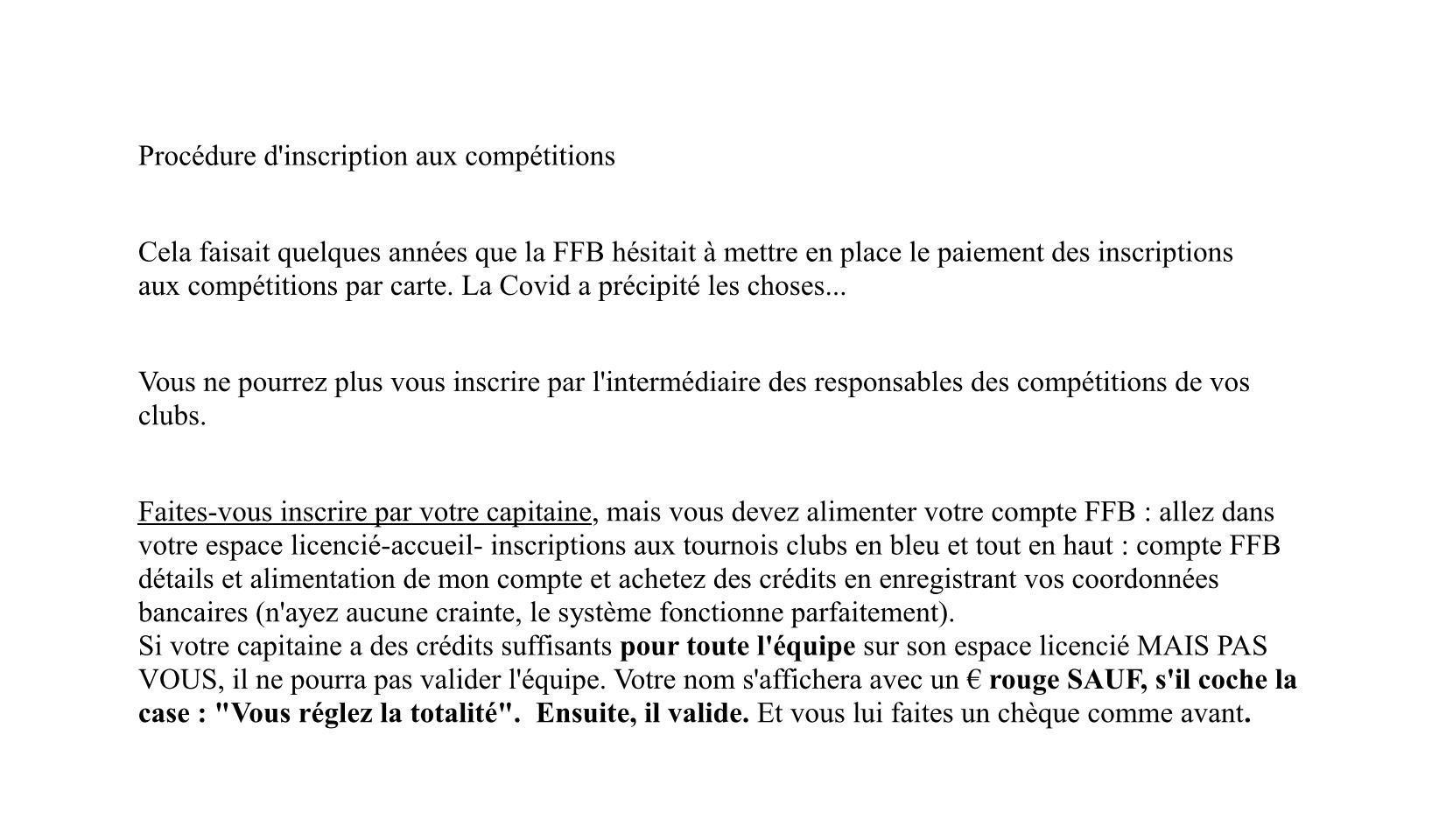 Inscription aux competitions sur ffb