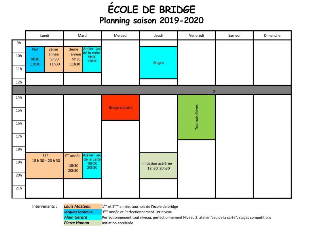 Planning école de bridge 2019 2020
