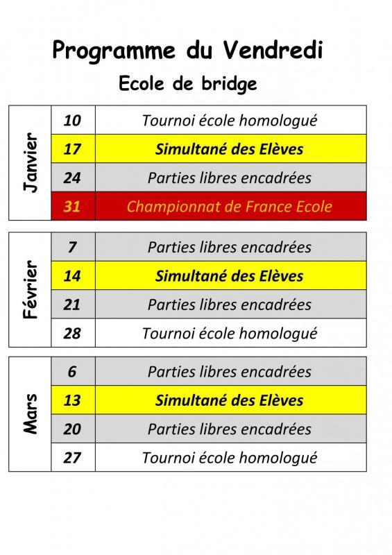 Programme des vendredi 1er trim 2020 école de bridge