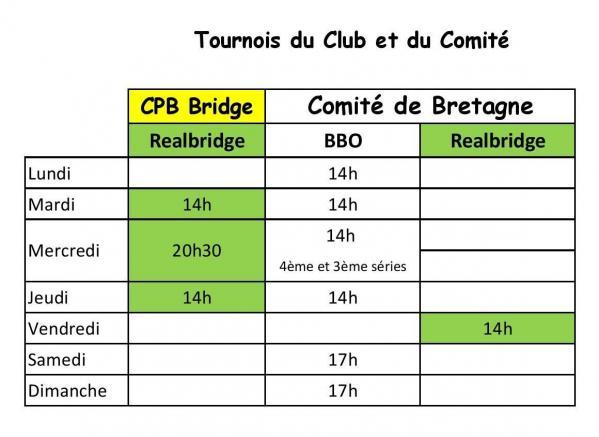 Tableau des tournois club et comité 2020-2021